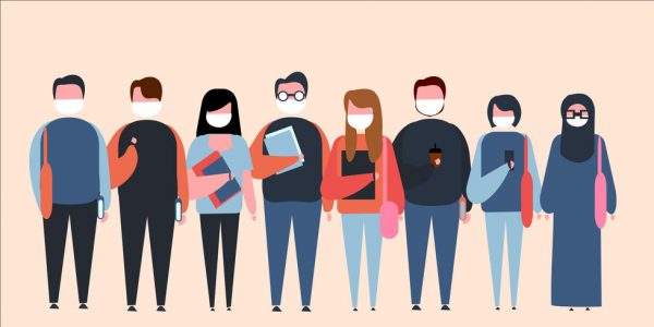 158921698 - set of illustrations of college students with mask, college student with a white mask, carry books,bags, go to campus